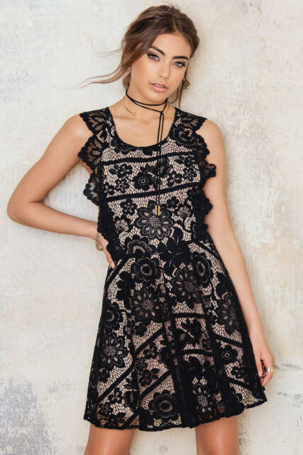 f36be824c4 NWT For Love and Lemons Gianna lace apron open back mini dress size L -  248