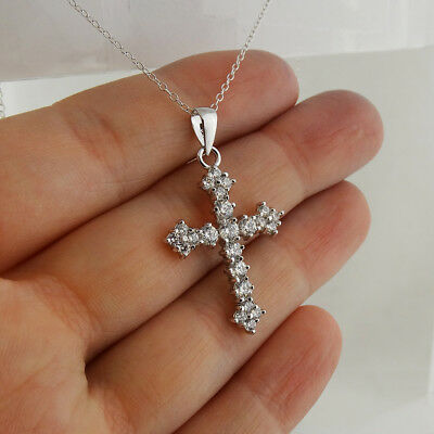 925 Sterling Silver Detailed Cross Necklace Large CZ Faith Pendant Religious