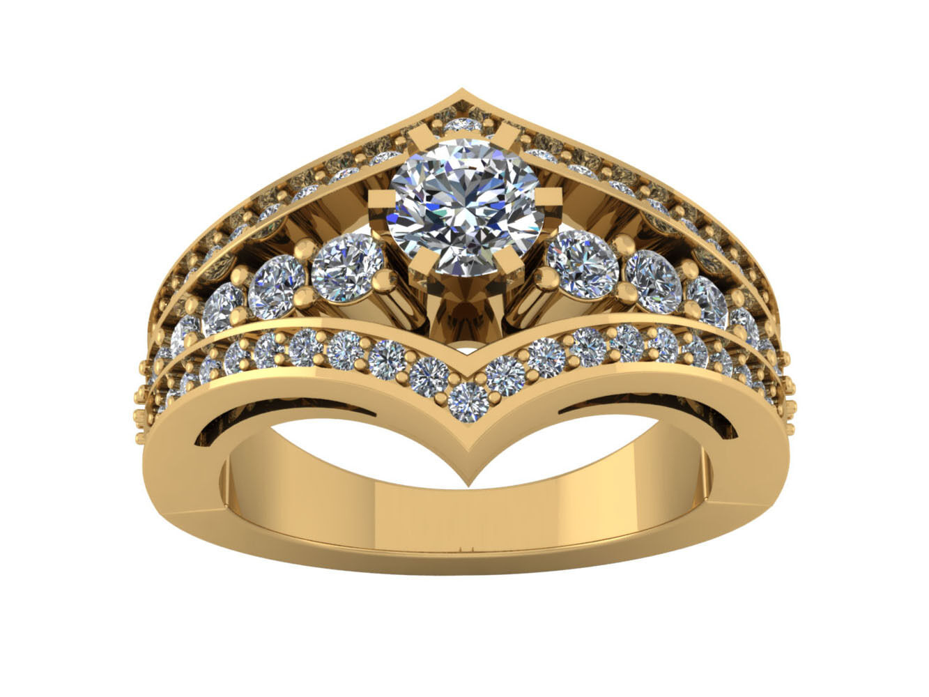 1.50Ct Round Cut Diamond Contemporary Bridal Engagement Ring Soild 14k gold