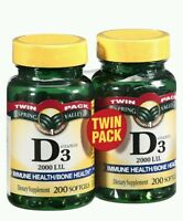 2x Spring Valley D3 2000 Iu - 200 Softgels (400 Softgels Total)