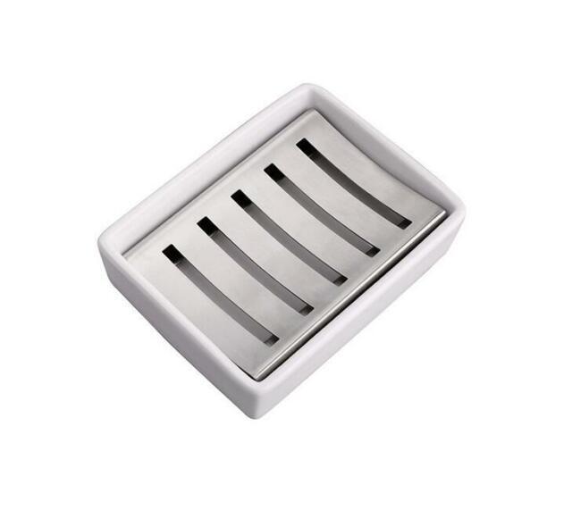 Brushed Nickel Look Steeltek Pewter Veil Stainless Steel Soap Dish BS-1003 New