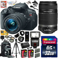 Canon Rebel T5i W/ 18-55 + 55-250 Lens Dslr Digital Camera (ultimate Bundle)