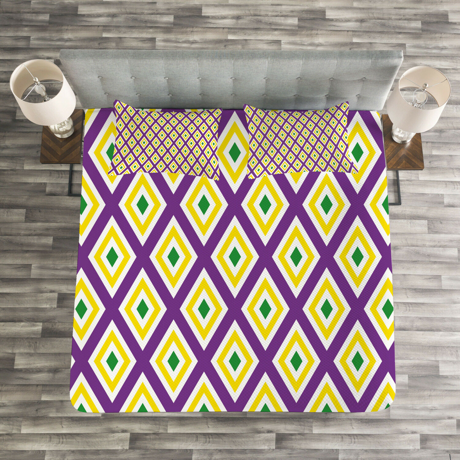 Mardi Gras Quilted Bedspread & Pillow Shams Set, Traditional Carnival Print