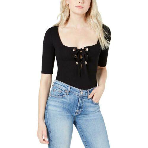 Guess Womens Sabrina Black Lace-Up Elbow Sleeves Thong Bodysuit Top M BHFO 8958