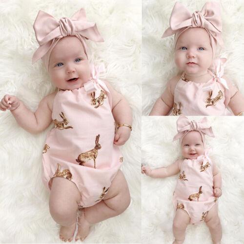 UK Rabbit Newborn Baby Girls Bodysuit Romper Jumpsuit 2Pcs Outfit Clothes Set