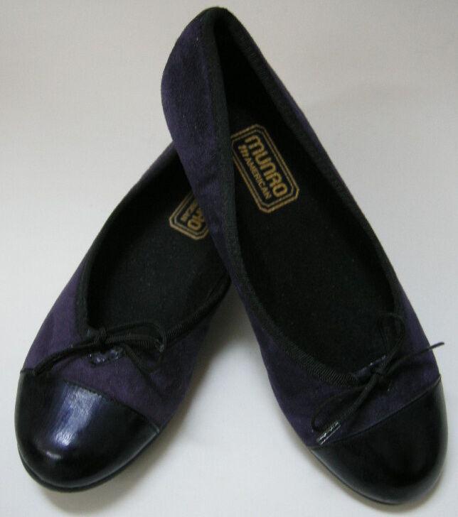 Munro American Zapatos Zapatos Zapatos Planos Ballet Púrpura Negro para Mujer Talla 6 M  garantizado