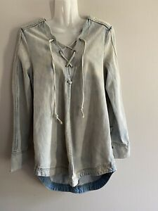 Free-People-Size-Small-Denim-Jean-Tunic-Mini-Dress-Top-Lace-Up-Long-Sleeve