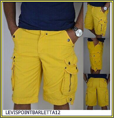 Bermuda Shorts Da Uomo Cargo Con Tasconi Gialla Pantaloni Corti 44 54 Catbalou