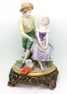 Vintage-Italiano-Porcelana-Figura-Triade-Benacchio-27-9cm-28cm-Capodimonte