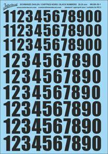 Schwarze Zahlen Decal 5-5,4 mm  Naßschiebebild Startnummern NR-BK-06