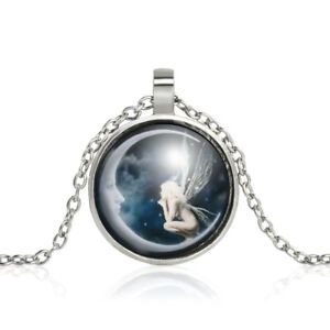 Fairy-on-the-Moon-Cabochon-Glass-Silver-Chain-Charm-Pendant-Necklace-Jewelry