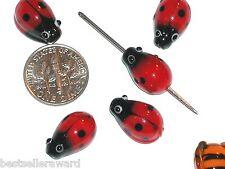 5pc Murano Glass Ladybug loose pendant charm Lampwork pendant bug beads findings