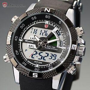 SHARK-Sport-Black-Digital-Stopwatch-Date-LCD-Men-039-s-Rubber-Quartz-Watch-for-GBH