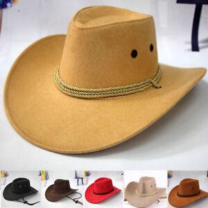 Retro-Occidental-Cowboy-Cowgirl-Chapeau-Hommes-Equitation-Casquette-Mode-Large