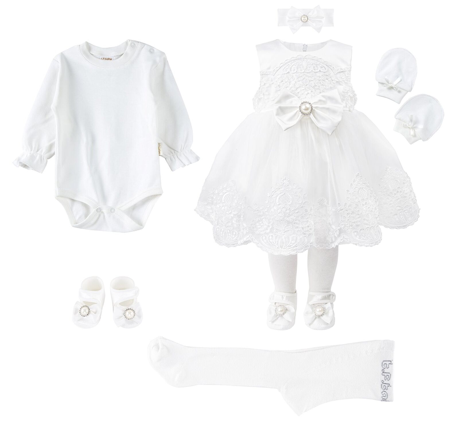 Taffy Baby Christening Baptism 3D Flower Dress Gown 6 Piece Deluxe Set 0-3M