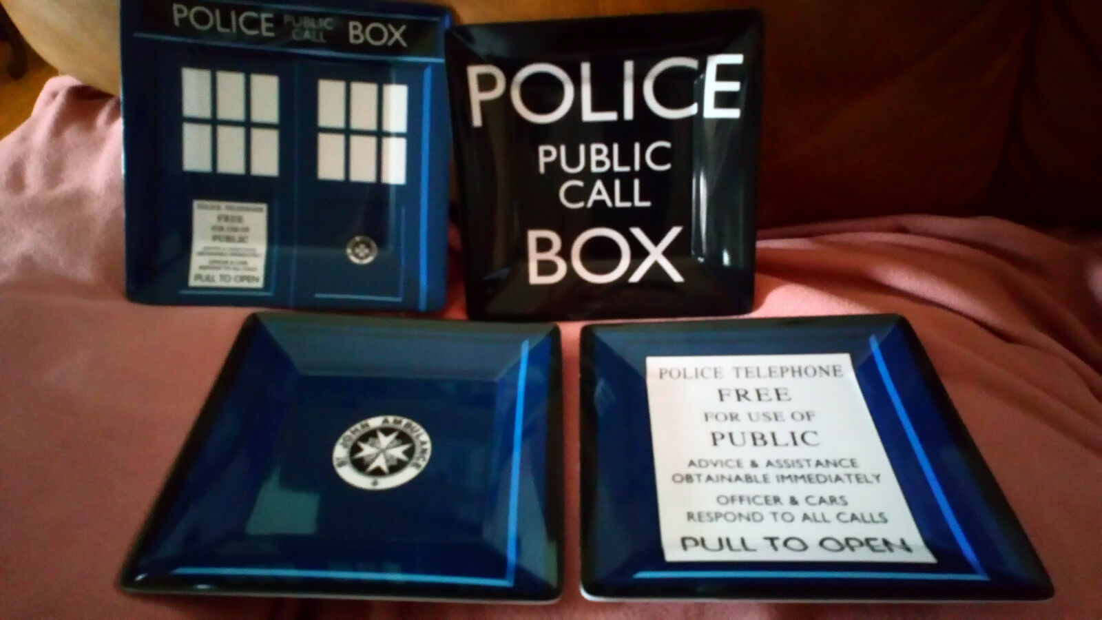 Dr. Who Dinner Plates 4 Set of Serving Plates  Melamine  PERFECT for Theme Party