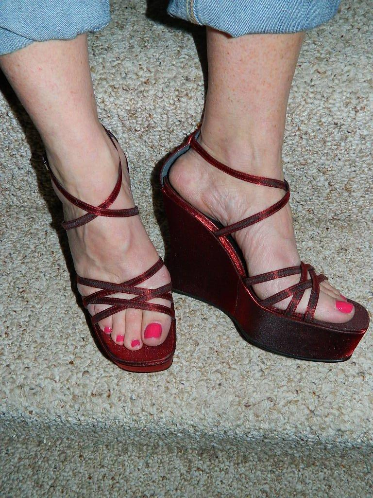 Casadei Shimmering Ruby Red Strappy Wedge Platform Sandals , Size 7.5