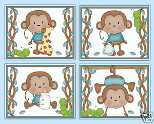 Image Is Loading Monkey Wall Art Prints Baby Boy Nursery Jungle