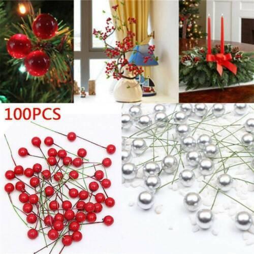 100x Artificial Red Holly Berries Garland Christmas Tree Decor DIY Xmas Ornament