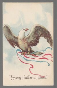 "[52486] OLD PATRIOTIC POSTCARD AMERICAN EAGLE ""EVERY FEATHER A FIGHTER"""