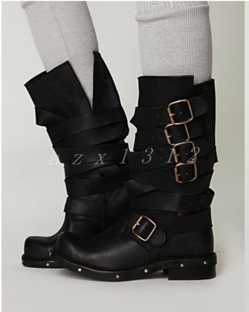 Donna Retro Mid Calf Stivali Pelle Cross Straps Multi Buckle Roman Rivet Shoes