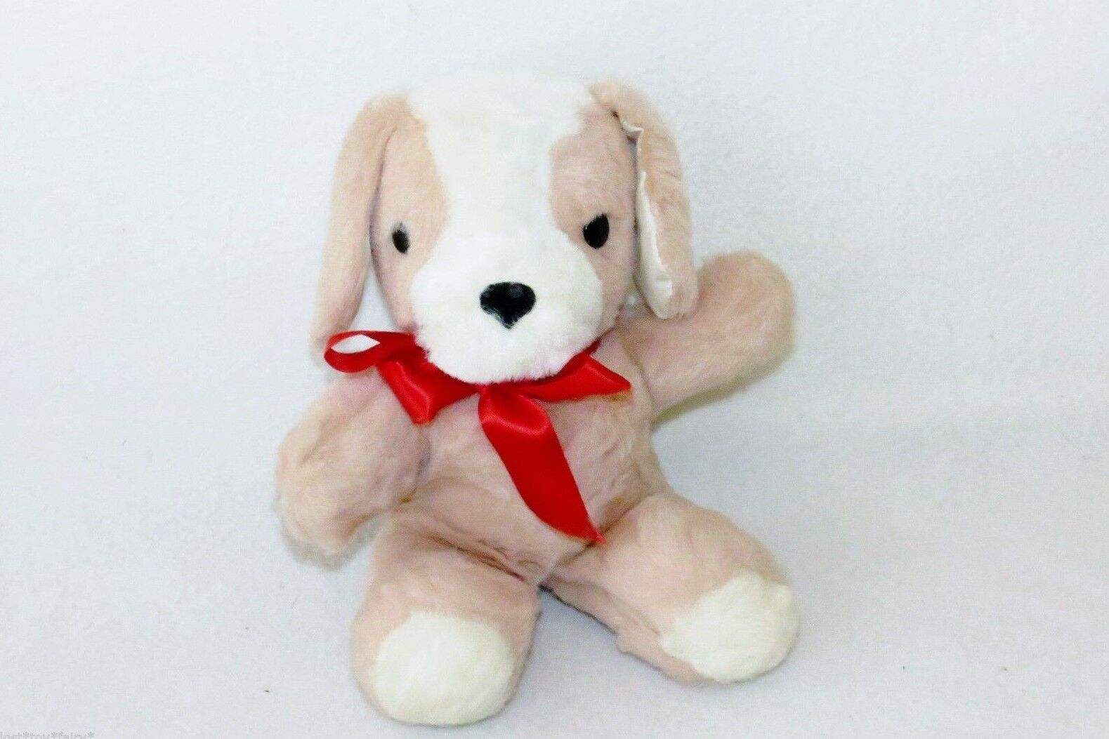 Gund Creation Puppy Dog Red Bow Brown Sani-Foam Plush Stuffed Toy 10  Vintage