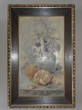 Stillleben - Habricht - Ölbild Leinwand signiert - Botanik Orange Blumen - 1909