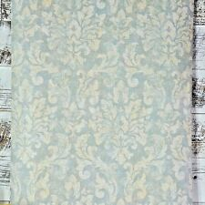 Vintage Victorian Tan Cream Damask on Grey Blue Designer Cottage Chic Wallpaper