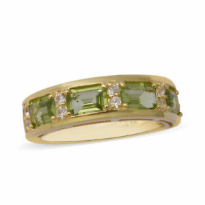 TJC Peridot Solitaire Ring Yellow Gold Plated Sterling Silver White Zircon Gift