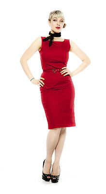 Red Pencil Dress - Fitted Pinup 50s Style - Sleeveless - Sz Sm/Med - Hey Viv