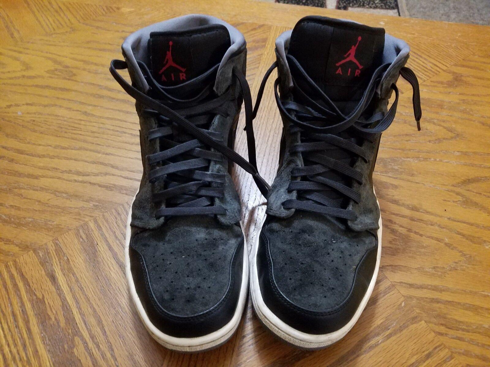 Nike Air Jordan Retro 1 Mid Black & Anthracite (554724-018) Mens Size 13