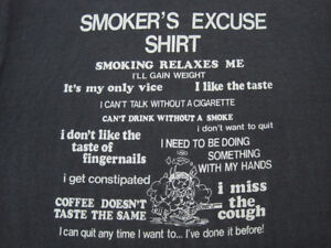 Details about PERFECTLY FADED!! 80s vtg SMOKERS cigarette EXCUSE cigar T  SHIRT 50/50 MEDIUM