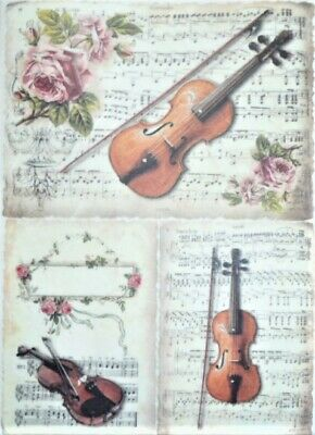 Rice Paper  Decoupage Scrapbook Craft Sheet Violin Music 466