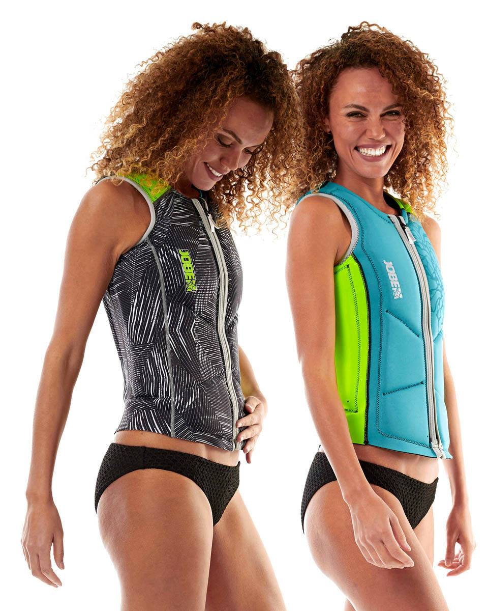Jobe Reversible Comp Vest Zipper Ladies Lime Teal Jetski Wakeboard Waterski SUP