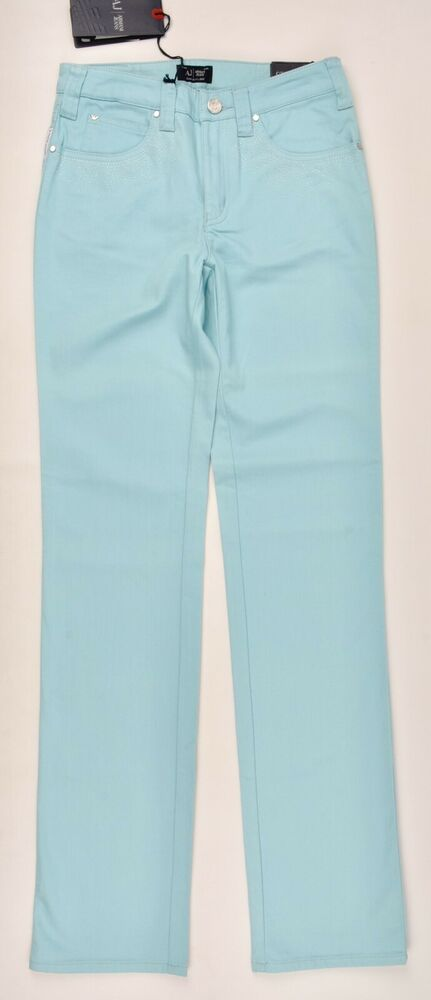 Armani Jeans Women's J75 Comfort Stretch Jeans Aqua Blue, W26 27 34 Long
