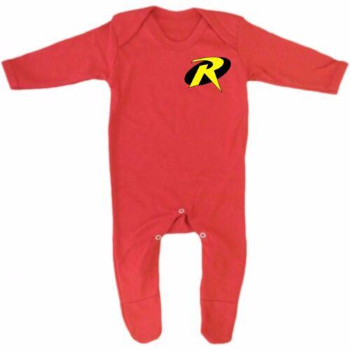 Red Robin super hero logo costume Baby Grow Romper Sleep Suit Vest