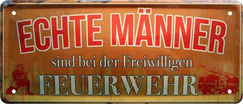 Blechschild Schild Deko Wandschilder 28x12cm  Feuerwehr Feuerwehrmänner Schilder