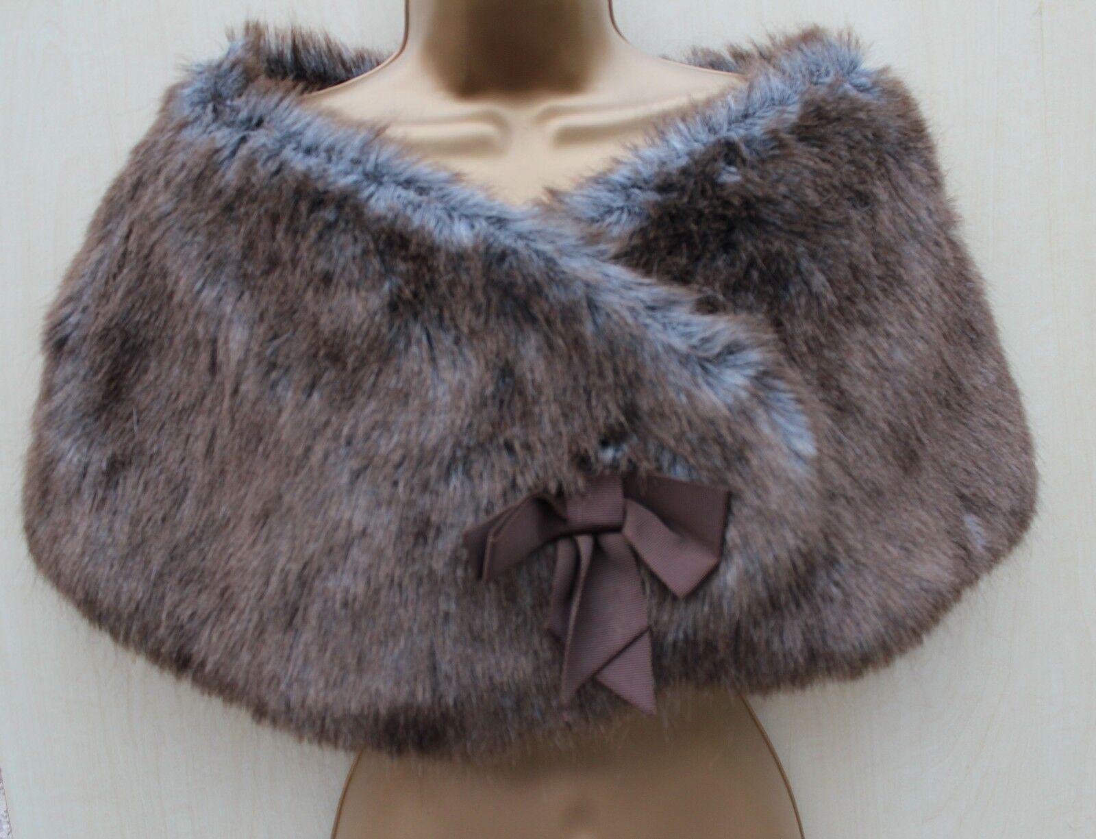 KAREN MILLEN Grey Grey Grey Brown Faux Fur Bow Detail Shrug Stole Over dress Sz-2 38f494