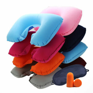 Portable-Inflatable-Flight-Pillow-Neck-U-Rest-Air-Cushion-Eye-Mask-Earplug