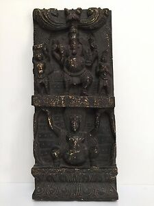 Rare-Vintage-Carved-Wooden-Ganesha-South-Indian-Statue-Sculpture-Wall-Panel