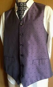 New Defect Men/'s Green Scroll Wedding Groom Ascot Waistcoat Only