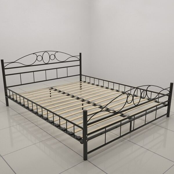Metal Bed Frame Modern Black Solid Double Iron Bedstead Comfortable ...