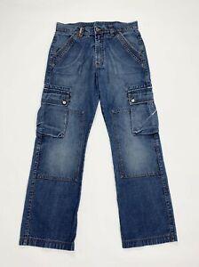 rjc-jeans-uomo-usato-cargo-working-denim-W32-tg-46-gamba-dritta-boyfriend-T4913