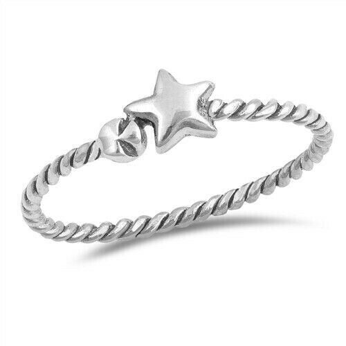 Star Rope Band Ring Genuine Sterling Silver 925 Oxidized Face Height 5 mm