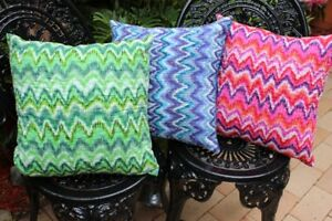 Chevron-Zig-Zag-Cushion-Cover-100-Cotton-Embroidered-Indian-White-Kantha-Pillow