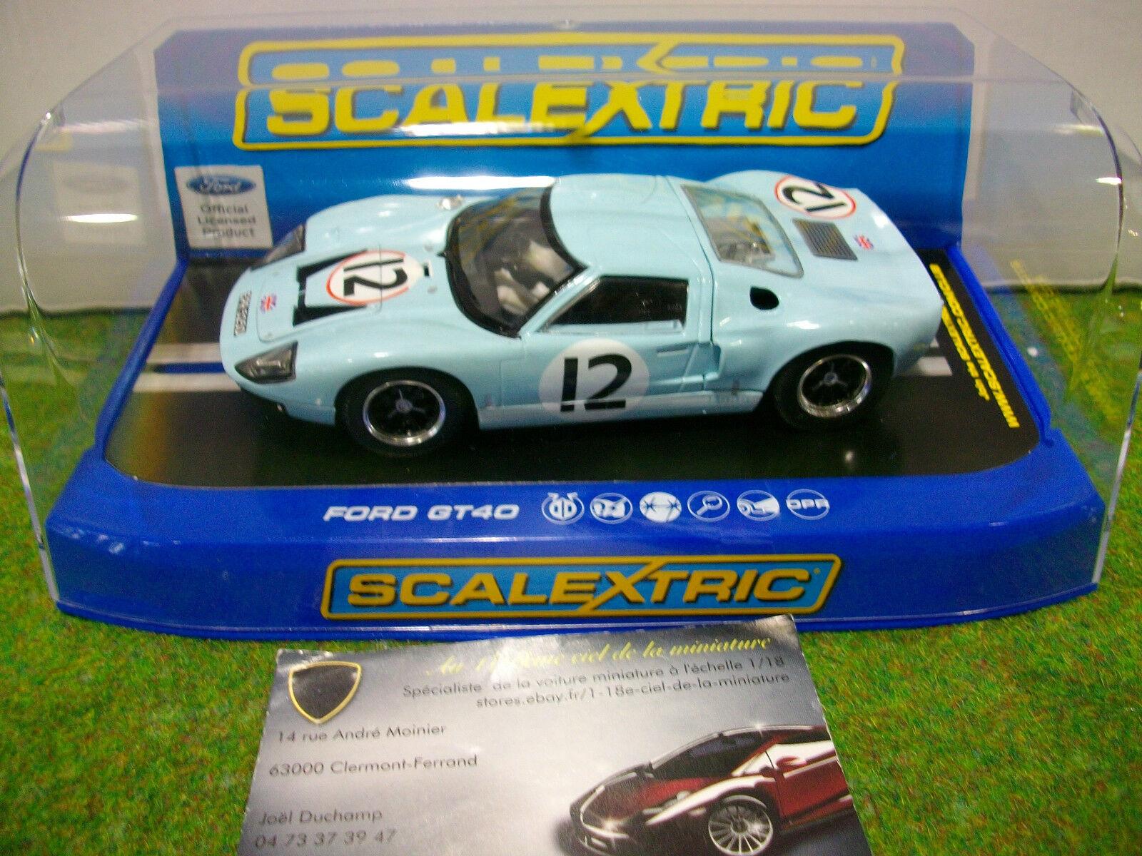 Voiture SLOT FORD GT40  12 LE MANS 1966 Bleu au 1 32 SCALEXTRIC C3533 SLOT