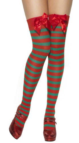 LADIES ROSSO BIANCO A RIGHE VERDI Natale Costume elfo Babbo Calze Calzini