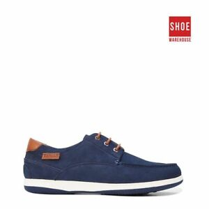 Hush Puppies DUSTY Navy Mens Lace-up Casual Nubuck Leather Shoes