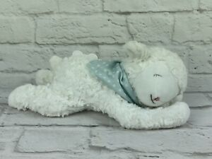 """12"""" Bunnies by the Bay Plush Musical White Lamb Blue Polka Dot Scarf Baby Lovey"""