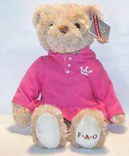 "FAO Schwarz Girl Bear dressed in Pink Polo Dress Shirt plush stuffed animal  14"""